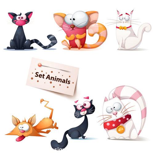 Funny cat cartoon vector