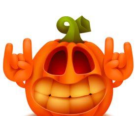 Funny halloween pumpkin gesture vector