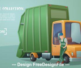 Garbage collection car vector