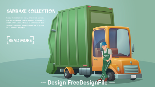 Garbage collection car vector