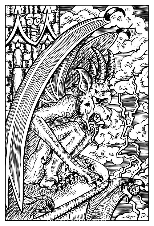 Gargoyle engraved fantasy illustration vector