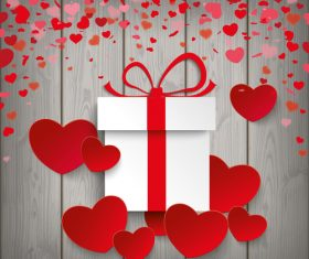 Gift Red Hearts Wood vector