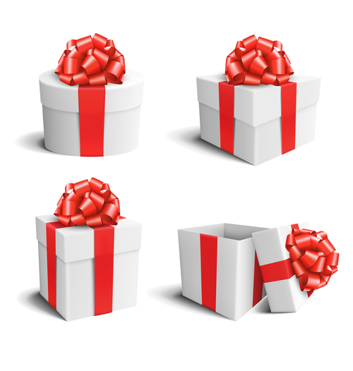 Gift box white with red bow isolated vector