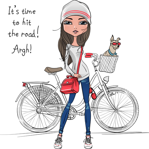 Girl and pet dog vector sitting on bicycle