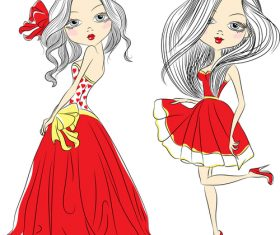 Girl in red dress vector