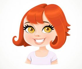 Girl red short haircut vector