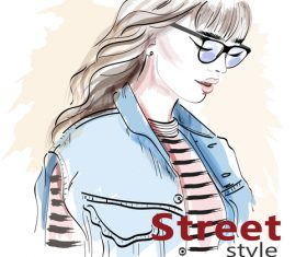 Girl street style vector