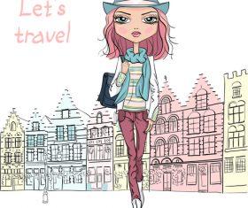 Girl travel vector