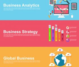 Global business banner vector