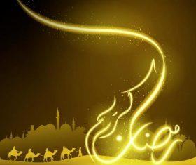 Glow arabic calligraphy Ramadan Kareem and silhouette arabian landscape vector