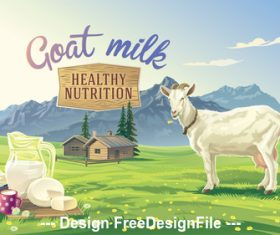Goat and dairy products vector