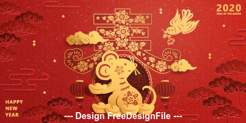 Golden Rat 2020 Chinese New Year Vector