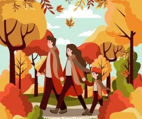 Golden autumn happy family on walk through park vector