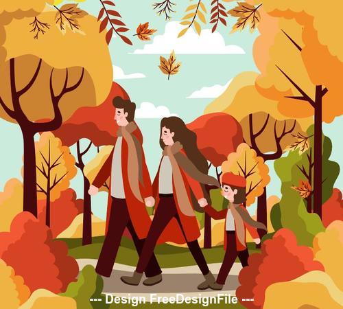 Golden autumn happy family on walk through park vector