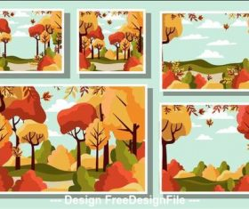 Golden autumn view vector