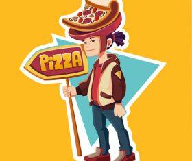 Golden boy pizza cartoon illustration vector
