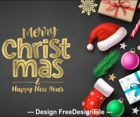 Golden font christmas card vector