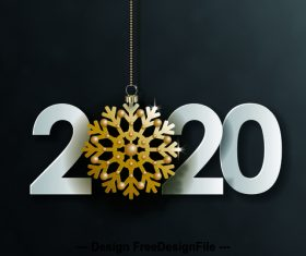Golden frost flower pendant new year decoration background vector