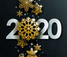 Golden frosty new year decoration background vector