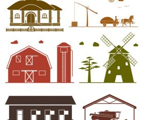 Granary and windmill silhouette vector