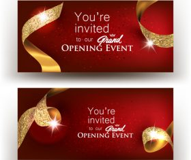Grand opening banners with gold ribbons vector illustration