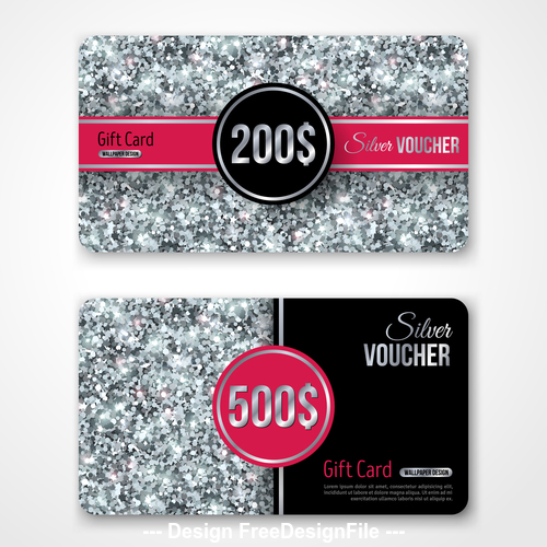 Gray VIP gift card vector