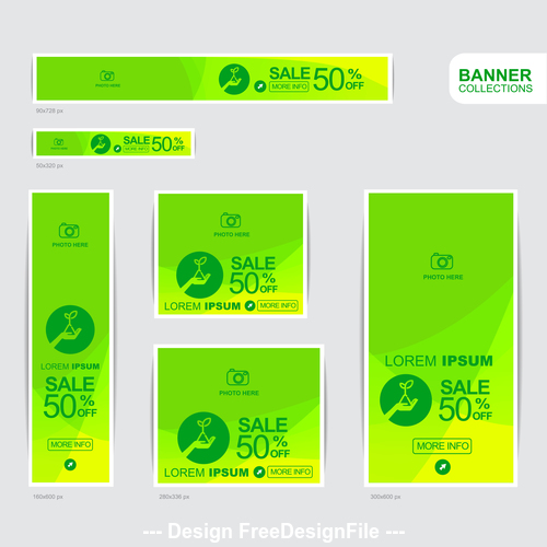 Green and yellow banner advertising templates design vector