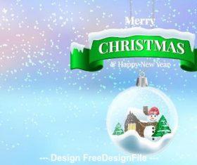 Green christmas banner and christmas crystal ball pendant vector