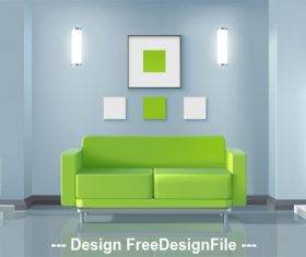 Green fresh living room vector