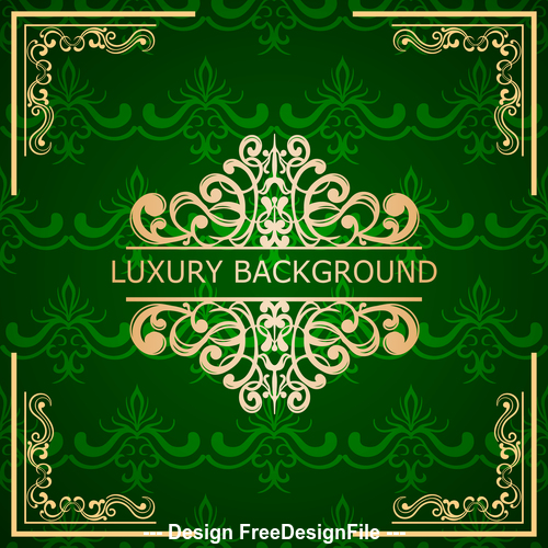 Green luxury background and golden frame vector