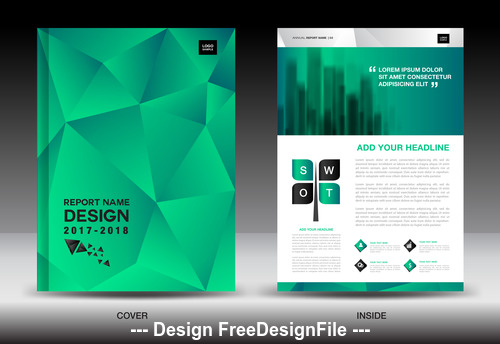 Green polygon background flyer template vector