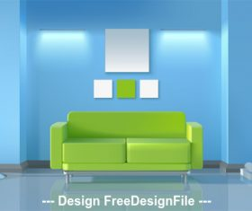Green sofa in living room vector