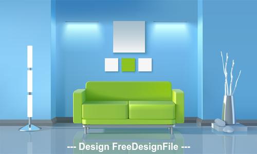 Green sofa in living room vector