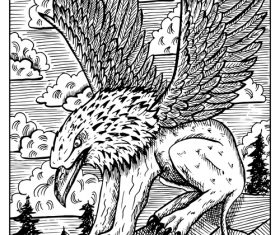 Gryphon engraved fantasy illustration vector