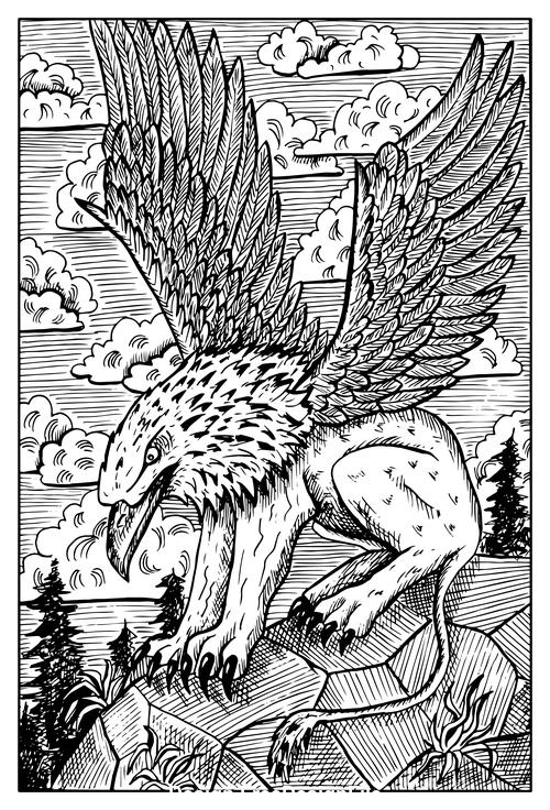 Gryphon engraved fantasy illustration vector