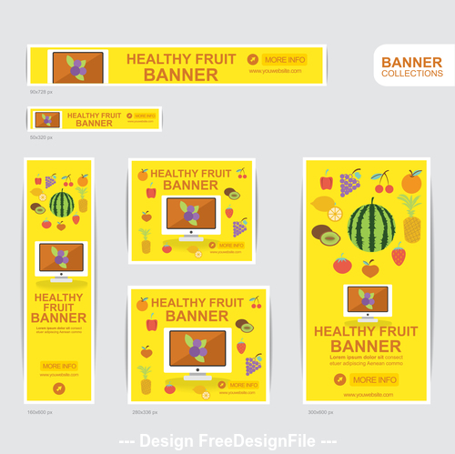 HEALTHY FRUIT banner advertising templates design vector