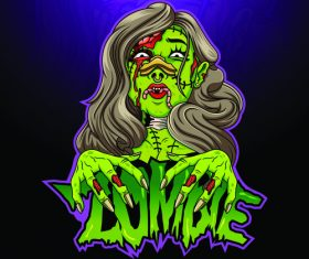 Halloween female zombie vector