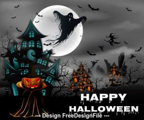 Halloween pumpkin and ghost with Witch on drake blue and house hunted greeting card template vector