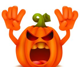 Halloween pumpkin spit tongue vector