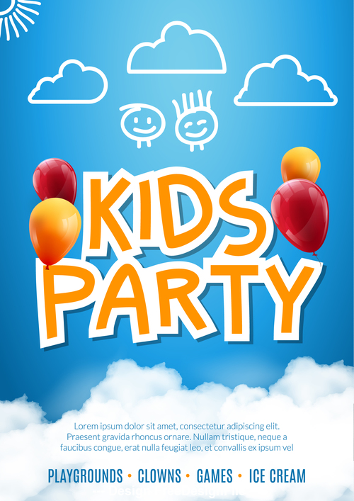 Hand drawn kids party card vector
