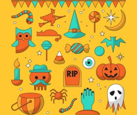 Happy Halloween icon on yellow background vector