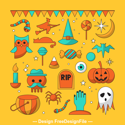 Happy Halloween Icon On Yellow Background Vector Free Download