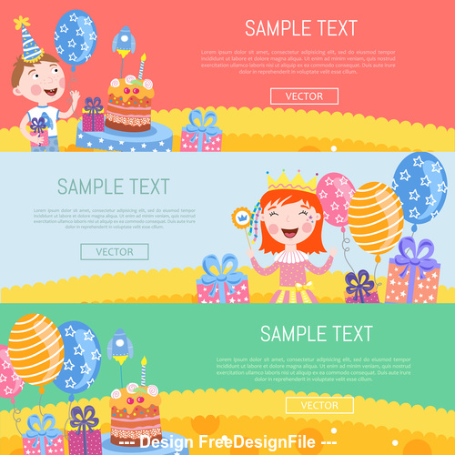 Happy children birthday banner vector