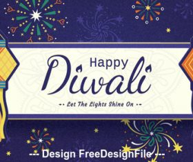 Happy diwali decoration vector