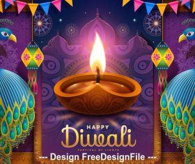 Happy diwali festival vector illustration