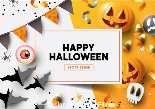 Happy halloween decoration illustration white and yellow background vector