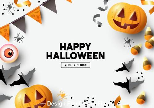 Happy halloween decoration illustration white background vector