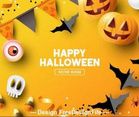 Happy halloween illustration decorative background vector