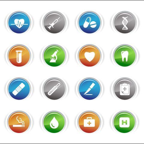 Healthy gloss buttons Icon vector