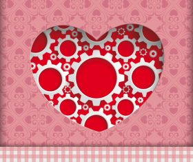 Heart Hole Gears Ornaments vector